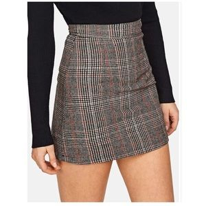 NWT SHEIN Wool Check Skirt